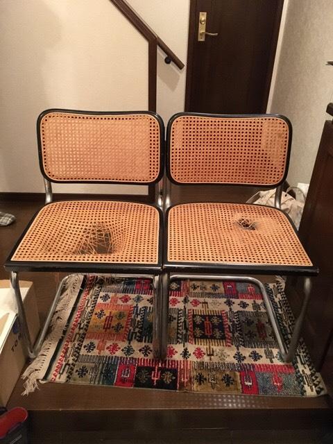 ラタン椅子張替え修理前